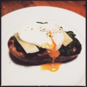 Spinach, Pecorino and Poached Egg on Grilled Sourdough