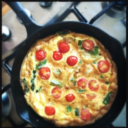 Roasted Garlic, Tomato and Asparagus Frittata